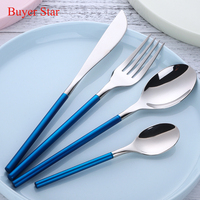 24 piece Korean Style Luxury Solid Blue Cutlery Set 18/10 Stainless Steel Dinnerware Set Matte Handle Top Knifes Tablespoons