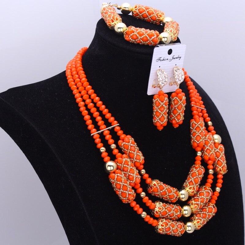 Dudo Orange incroyable perles africaines bijoux ensembles cristal collier ensemble mariage nigérian mariée 3 Pics ensembles livraison gratuite 2018 or - 3