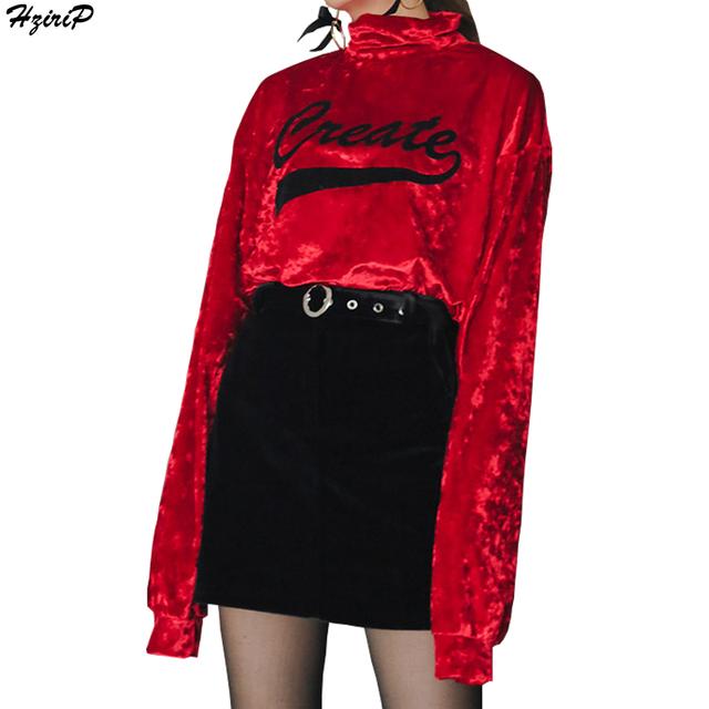 Mulheres De Veludo T-Shirt 2017 Carta de Impressão T-shirt Feminina de Veludo de Gola Alta Manga Batwing Das Mulheres T-shirt Casual Tops Camiseta Femme