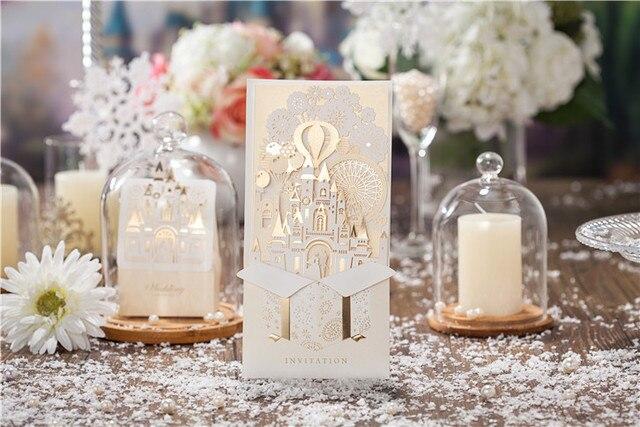 50 Teile/los 3D Hochzeitseinladungen Anpassen Laserschneiden  Einladungskarten Braut Und Bräutigam Schloss Hochzeit Gefälligkeiten  Casamento