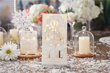 50pcs/lot 3D Wedding Invitations Customize Laser Cutting Invitation Cards Bride and Groom Castle Wedding Favors Casamento CW5093