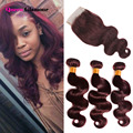 99J Lace Closure With Bundles Cheap 7A Peruvian Virgin Hair Body Wave With Closure Red Hair Bundles With Lace Closure Human Hair