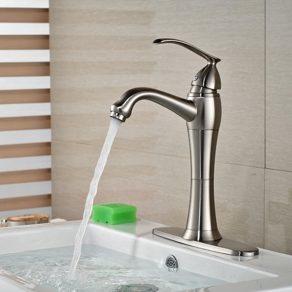 Wholesale And Retail Elegant Brushed Nickel Deck Mount Bathroom Basin Faucet Single Handle Cold Hot Sink Mixer Tap micoe hot and cold water basin faucet mixer single handle single hole modern style chrome tap square multi function m hc203