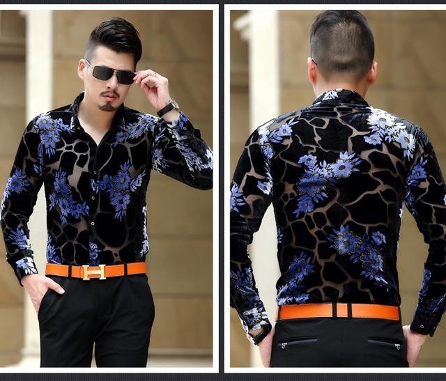 2019 Mens See Through Shirts Leopard Flower Baroque Print Shirts Mens Silk Transparent Dress Shirts Vintage Camiseta Masculina
