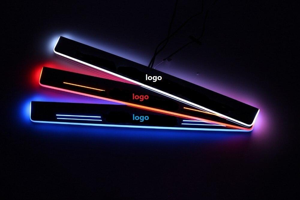 Qirun acrylique led porte mobile éraflure bienvenue lumière voie lampe porte seuil plaque garnitures pour chevrolet malibu XL
