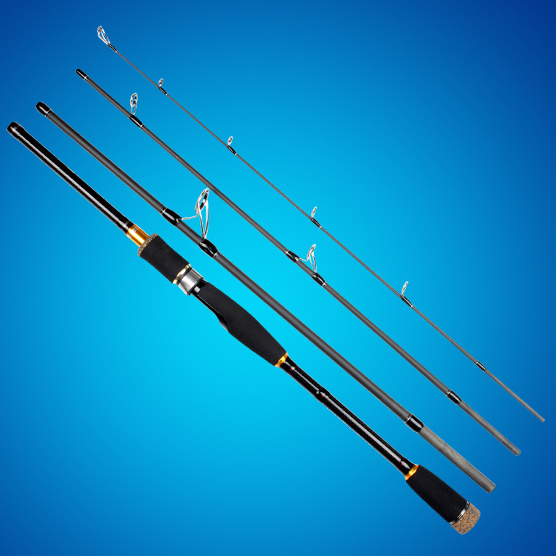 Carbon road sub - rod multi - section portable four - section straight shank plunger type long - throw line fishing rod