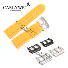 CARLYWET 24mm Yellow Waterproof Silicone Rubber Replacement Wrist Watch Band Stra With Silver Black Buckle For Luminor цены