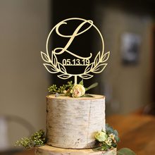 Custom Initial with Date Circle Half Wreath Cake Topper,Personalized Topper, Personalized Modern