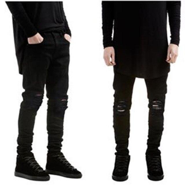 87935d9bb40 Мото обтягивающие мужские джинсы модные уничтоженные байкерские джинсы из  денима черные рваные джинсы мужские штаны брюки