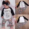Boutique Niños Bebés Niñas Ropa Fijada Camiseta Carta Flor Tops Pantalones Sttiped Leggings Niñas Trajes de Ropa