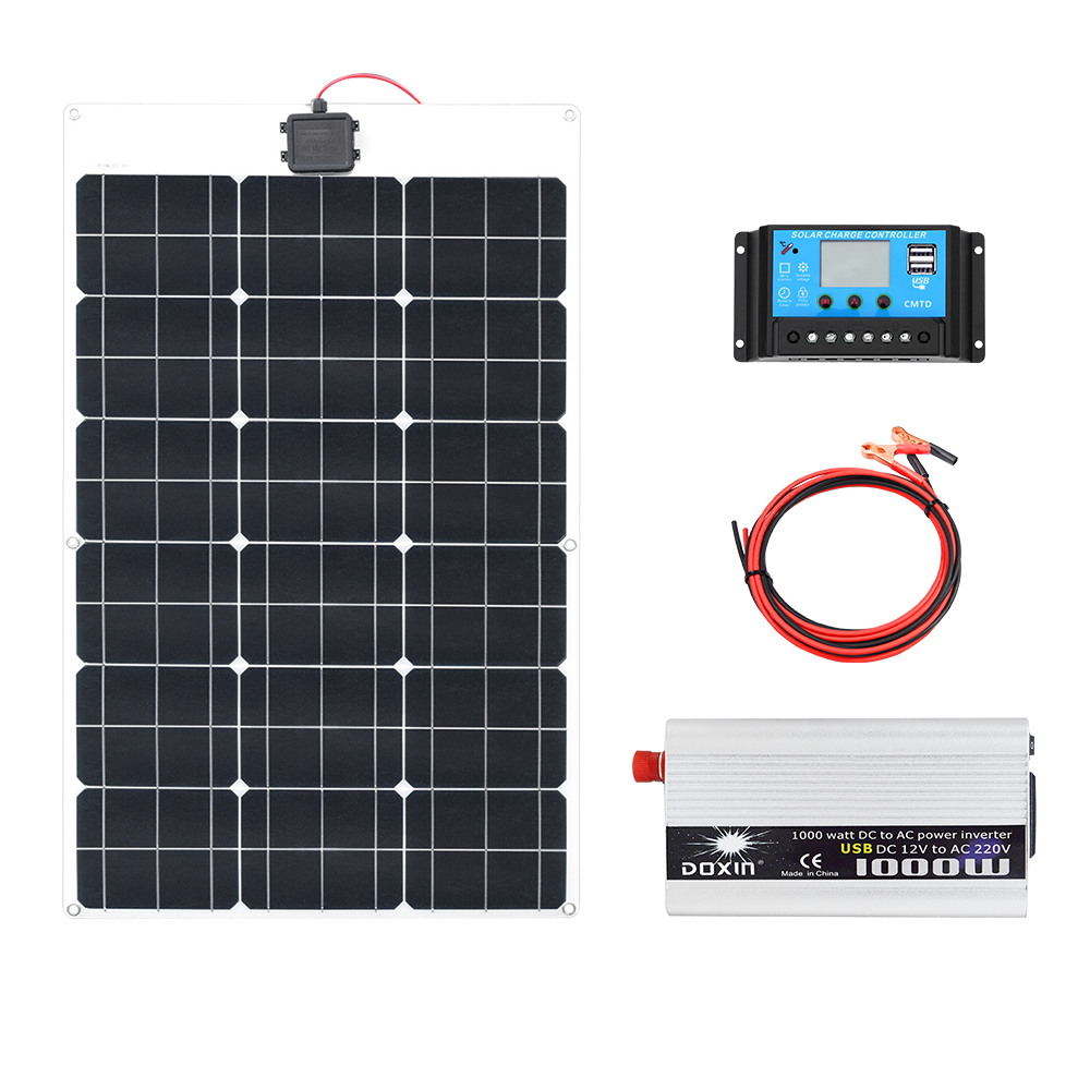 60W 18V Solar Panel 1000W Inverter 220V or 110V PWM 10A Charge Controller Battery Charger Panel solar Kit system Home outdoor60W 18V Solar Panel 1000W Inverter 220V or 110V PWM 10A Charge Controller Battery Charger Panel solar Kit system Home outdoor