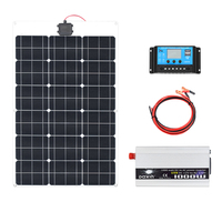60W 18V Solar Panel 1000W Inverter 220V or 110V PWM 10A Charge Controller Battery Charger Panel solar Kit system Home outdoor