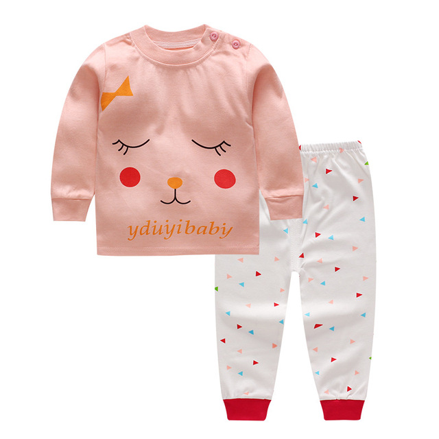 109a747b3 Autumn Winter Cute Newborn Baby Girls Clothes pink cat Cotton baby ...