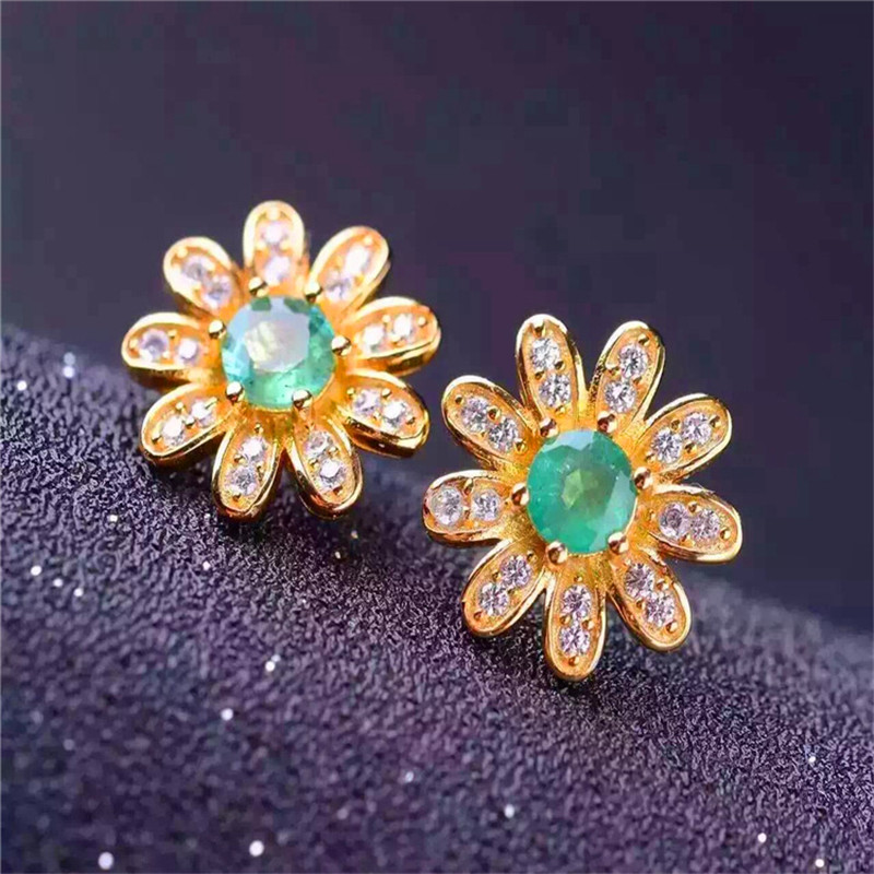 Natural Emerald Stud Earrings 925 sterling silver earrings green Fine Jewelry Wedding/Engagement Valentine's day gift цена 2017