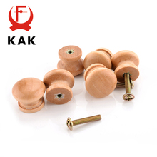 KAK 10pcs 2.5X2CM Medium Size Natural Wooden Cabinet Drawer Wardrobe Door Knob Pull Handle Hardware Plain Circle Handles