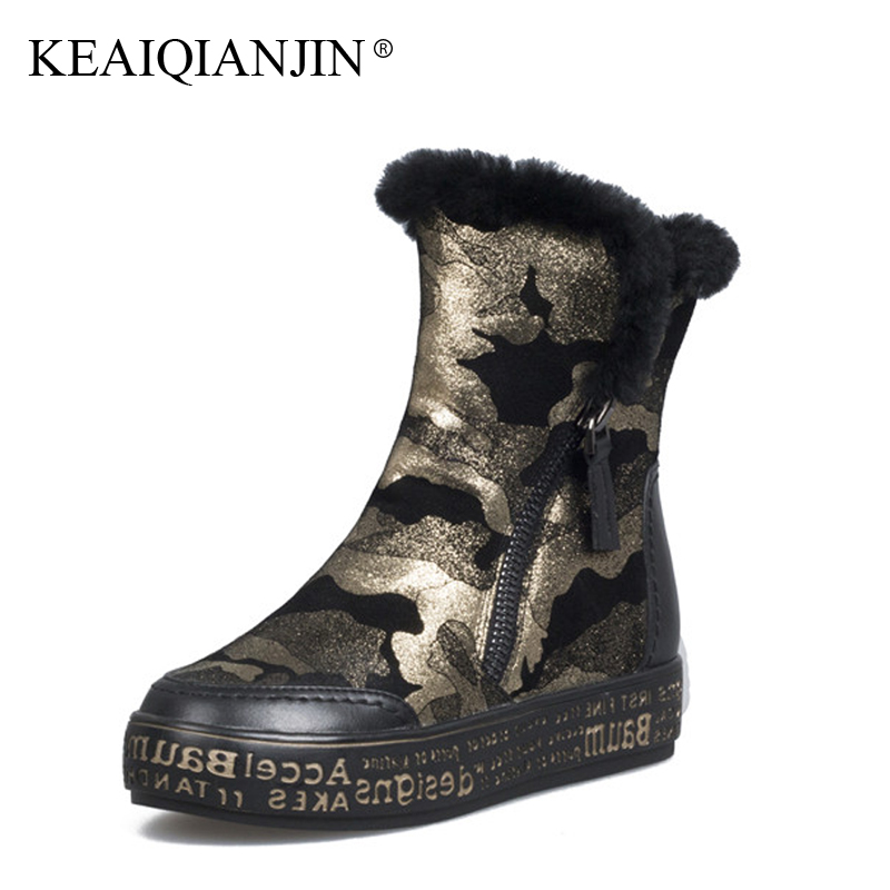 KEAIQIANJIN Woman Winter Wool Snow Boots Fur Golden Silver Pink Platform Shoes Winter Shearling Ankle Boots Plus Size 34 - 40 keaiqianjin woman studded snow boots pink black winter genuine leather flat shoes flower platform fur crystal ankle boot 2017