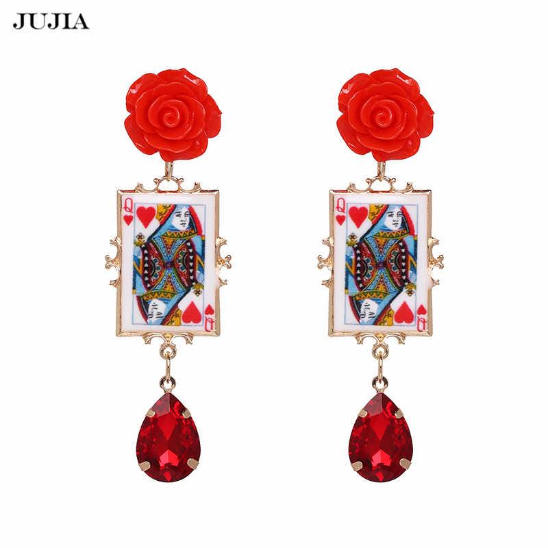 JUJIA 女性のファッションの魅力のイヤリング新着ヴィンテージポーカーフェイス花クリスタルドロップイヤリングジュエリー