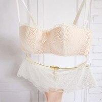 The New Romantic Lace Sexy Gather No Rims Bra Half Cup Bra Girl White Underwear Thin