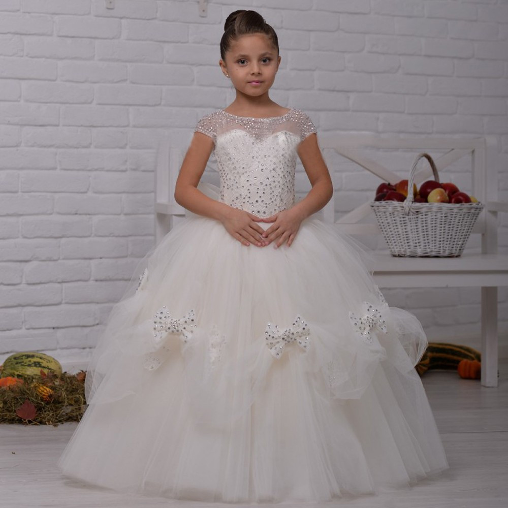 Luxury Flower Girl Dress Beading Bow Short Sleeves Ball Gown O-neck Pageant Communion Gowns 0-14 Years Vestidos Longo green crew neck roll half sleeves mini dress