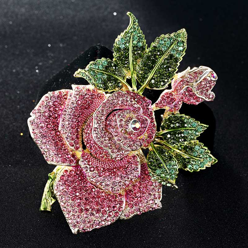 Blucome Big Size Rose Flower Brooch For Women Christmas Gifts Pink Bud Leaf Crystal Brooch Perfect enamel Hijab Accessories charming crystal gold rose brooch