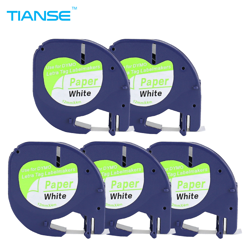 TIANSE 5pcs DYMO LetraTag Label Tape 91200 black on white paper 12mm x 4M LT 91200 marker ribbons A91330 for DYMO label printer 30pk dymo 91201 letratag white plastic label dymo lt91201 label 12mm 4m black on white label tape