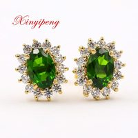 Xin yi peng 18 k yellow gold inlaid natural diopside stud earrings, woman, classical and generous