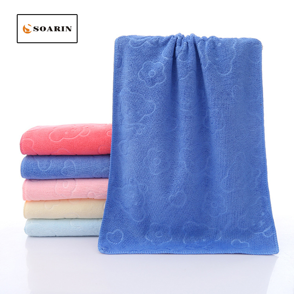 SOARIN Solid Printed Polyester Face Towel Absorvente Bathroom Quick Dry Hand Towels Toallas De Mano Drap De Plage For Adults