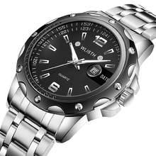 лучшая цена WLISTH Waterproof quartz men watch stainless steel strap scratch watch calendar clock business  mens watches top brand luxury