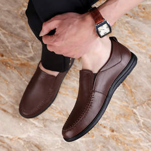 Image 4 - 2020 mens dress shoes slip on genuine leather cow classic black or brown office shoe man plain formal shoes for men big size 12