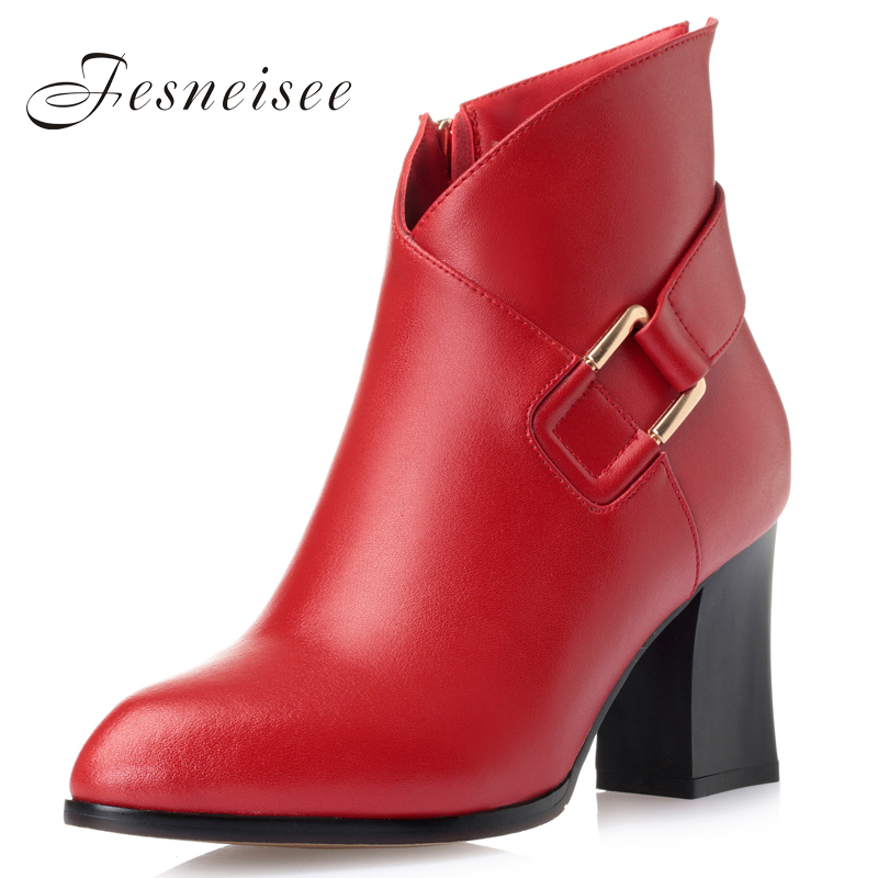 High quality genuine leather boots high square heels autumn winter ankle boots metal buckles warm snow boots shoes woman M4 new high quality genuine leather boots rivets square heels autumn winter ankle boots sexy fur snow boots shoes woman size
