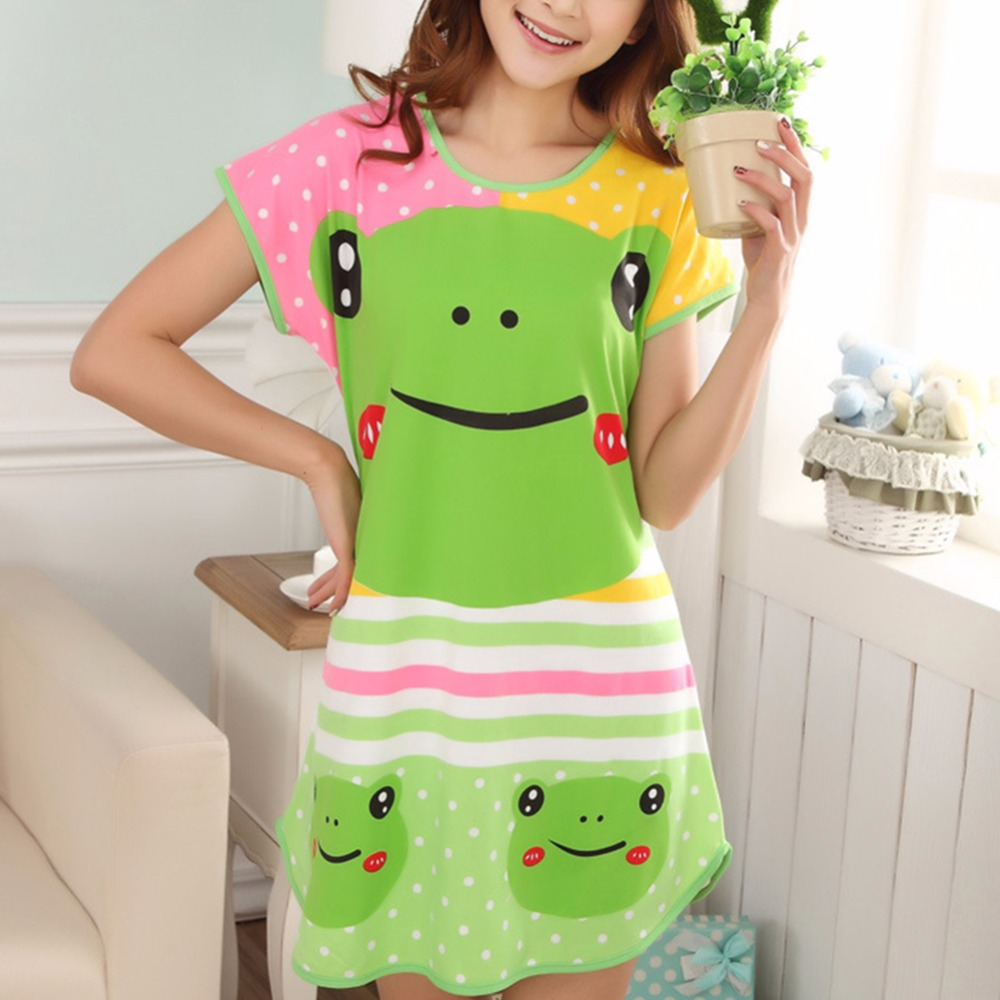 Summer Brand Homewear Women Casual nightgown Cartoon animals print nightdress Female Short sleeve Round collar sleepwear dress