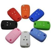 Jingyuqin 50 шт. 3 кнопки силиконовой флип ключ Обложка для Chevrolet Cruze Spark автомобиль удаленный ключевой случае комплект