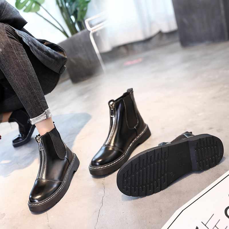 Ayakkabı Kadın 2019 Yeni Moda Ön Fermuar Kalın Martin Çizmeler ile Kadınlar Casual Çalışma Joker lokomotif Botlar