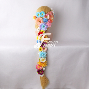 Image 4 - Tangled Cosplay Wig Princess Rapunzel Long Braids Artificial Flowers Headwear Women Blonde Synthetic Hair Adult