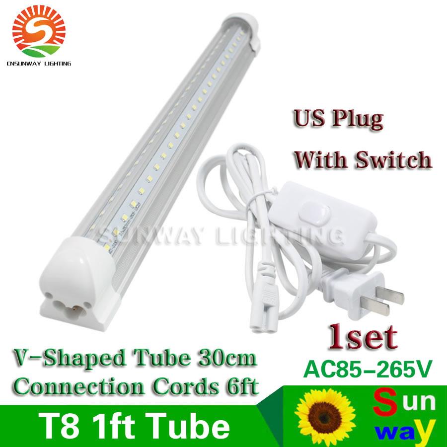 sunway t8 integrated v shaped 30cm 1ft led tube lights 6w add us plug with switch 6ft power. Black Bedroom Furniture Sets. Home Design Ideas