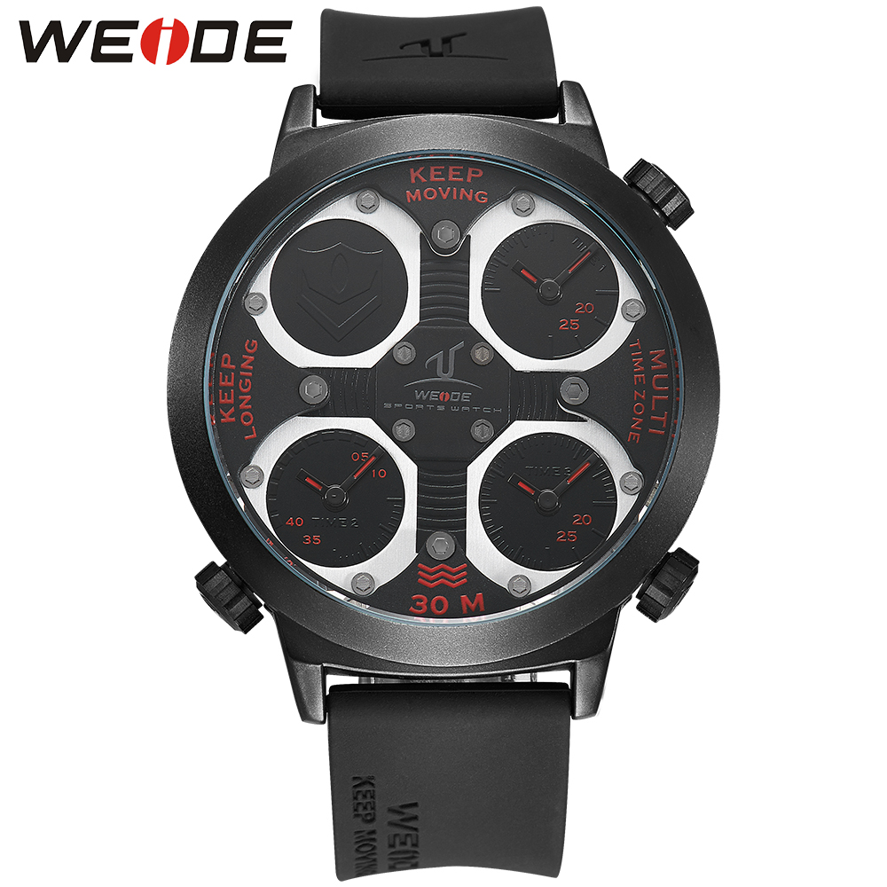 WEIDE Sport Watch Men's Multiple Time Zone Analog Quartz Black Band Buckle Hardlex Wristwatches Military Men Watches men s military style fabric band analog quartz wrist watch black 1 x 377