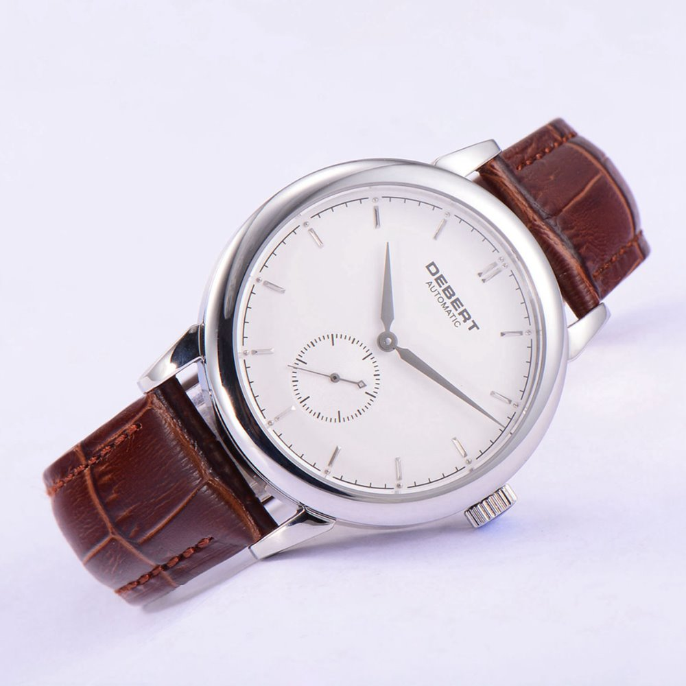 40mm Debert sapphire glass Brown leather strap Automatic Mechanical Watch цена и фото