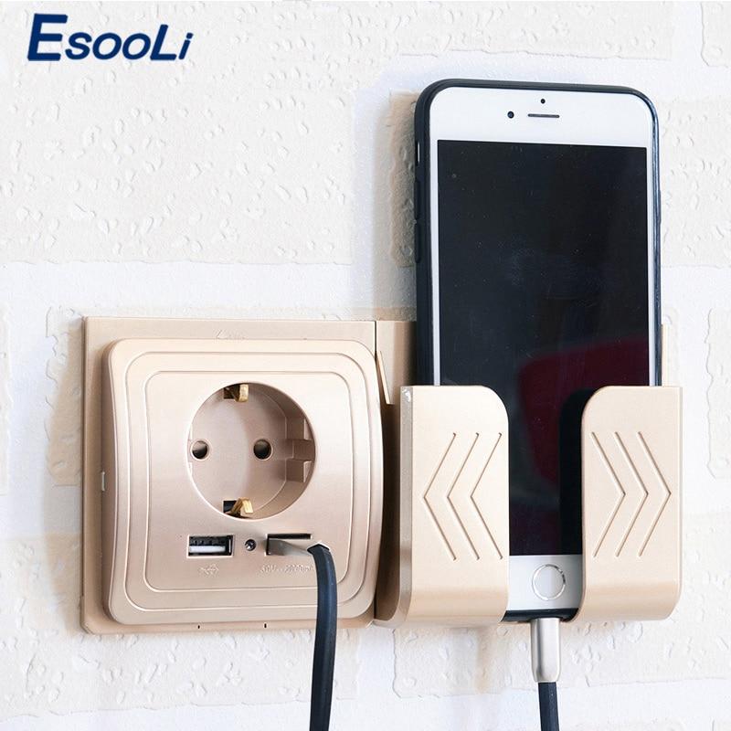 Esooli 5V 2A Dual Wall Socket Socket With USB Wall Outlet EU Ports Charger 16A 250V Kitchen Plug Socket Electrical Outlet