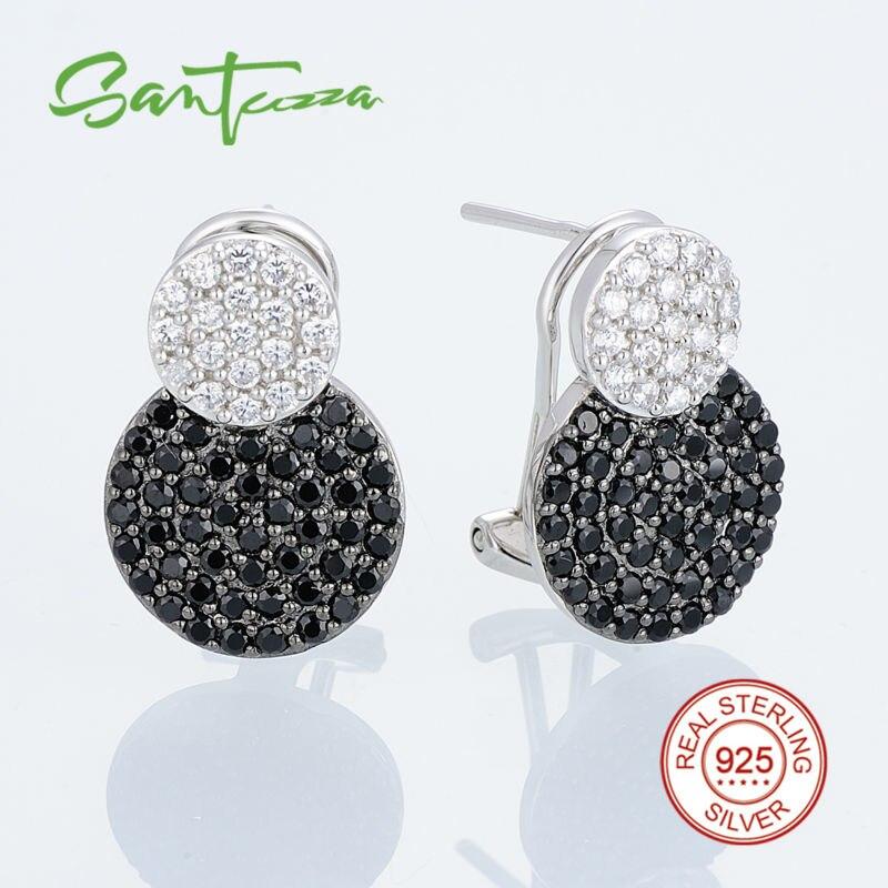 Image 2 - SANTUZZA Jewelry Set For Women Genuine 925 Sterling Silver Unique  Shinny Black CZ Vintage Earrings Pendant Set Fashion Jewelryearring  pendant setjewelry sets for womenpendant set