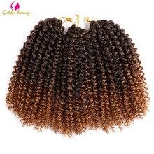 "8"" 12"" Afro Kinky Twist Crochet Braids Synthetic Bohemian Curly Braiding Hair Extension Ombre Marley Crochet Hair Golden Beauty"