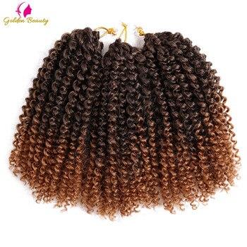 """Косички для наращивания волос, 8 """"12"""", черные косички, синтетические, богемные, волнистые, Омбре, Марли, вязаные крючком волосы, золотистые"""