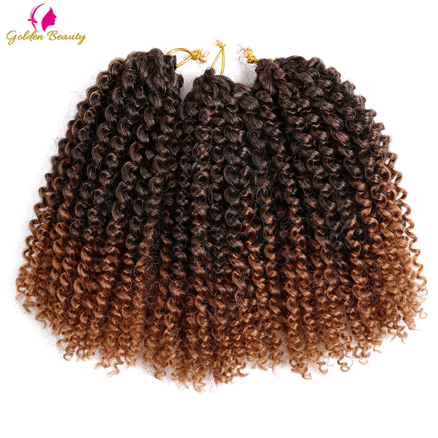 Golden Beauty 8-12inch Kinky Curly Crochet Hair Syntetisk Braiding Hårförlängningar Marleybob Crochet Braids 60 strängar / pack