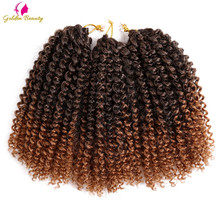 Golden Beauty 8-12inch Kinky Curly Crochet Hair Synthetic Braiding Hair Extensions Marleybob Crochet Braids 60 strands/pack