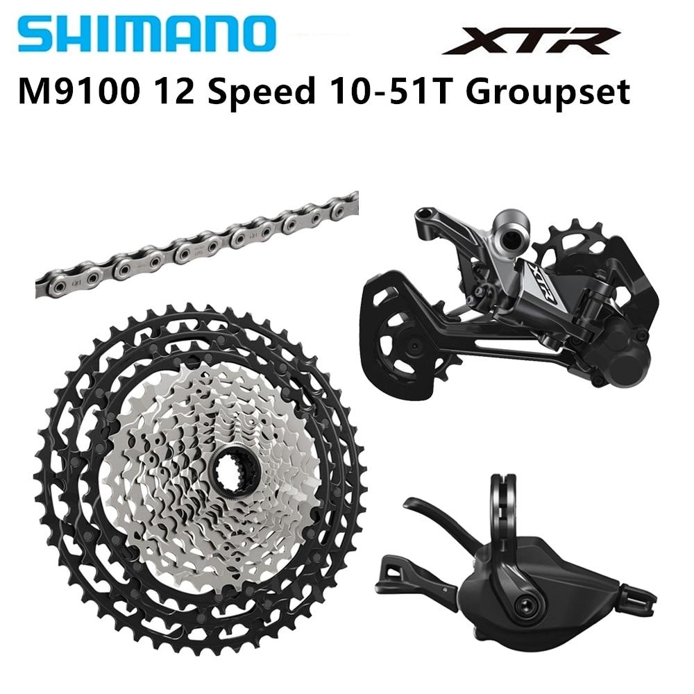 Groupe vtt Shimano XTR M9100 12 vitesses SL-M9100-R CN/CS-M9100 RD-M9100-SGS 10-51 T 4 pièces