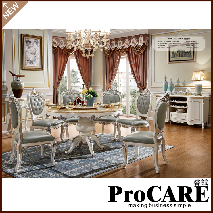 Modern White Dining Room Sets: Modern Round Nature White Marble Dining Table Set 6 Chairs