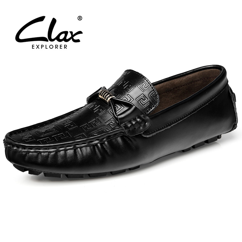 Clax Men Boat Shoes 2017 Spring Summer Male Leather Shoe Slip on Soft Casual Flats Moccasins Loafers Walking Footwear 2017 autumn fashion men pu shoes slip on black shoes casual loafers mens moccasins soft shoes male walking flats pu footwear