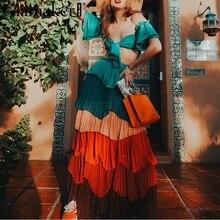 Glamaker Retro two-piece women dress Ruffle colourful summer long blue dress Elegant sexy chiffon tube maxi beach dress vestidos