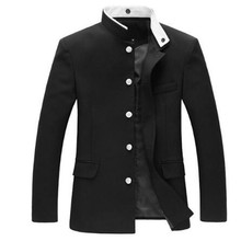 Men Black Slim Tunic Jacket Single Breasted Blazer Japanese