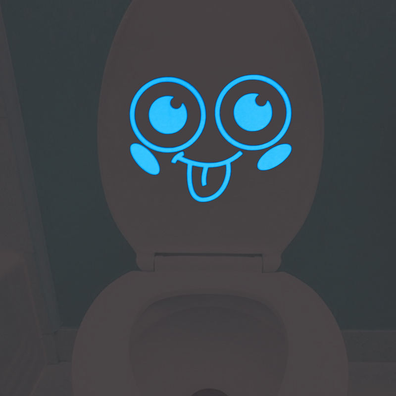Tongue Smile Face Toilet Sticker Lovely Cartoon WC Wall Decor Decals Bathroom Decoration Sticker Kids Rooms Desk Laptop Sticker