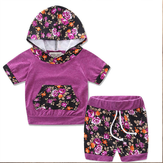 21208cf7e259 Newborn Baby Girls Clothes Floral Hooded Tops Short Pants Outfits ...